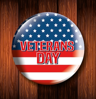 Marco circular del día de los veteranos en mesa de madera
