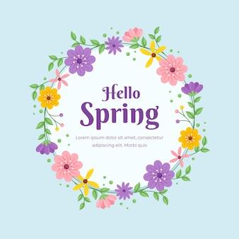 Marco circular floral de primavera plana