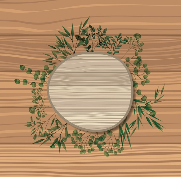 Marco circular con fondo de madera de hojas de laurel.