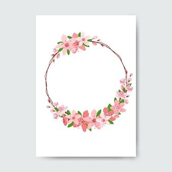 Marco circular hecho con flores.