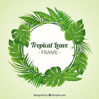 Marco circular de hojas tropicales