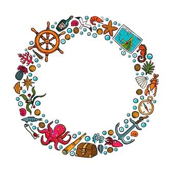Marco de círculo de aventuras en el mar