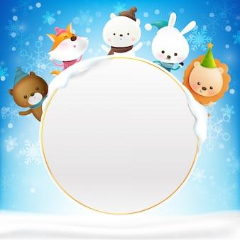 Marco de círculo en blanco con animal de dibujos animados