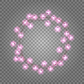 Marco de círculo de bombillas rosa sobre fondo transparente