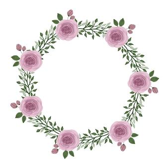 Marco de círculo de corona de rosas rosadas con rosas rosadas y borde de hoja para saludo y tarjeta de boda
