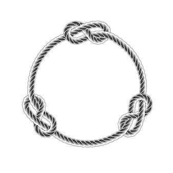 Marco de círculo de cuerda con nudos, cuerda de línea de estilo simple, borde marino
