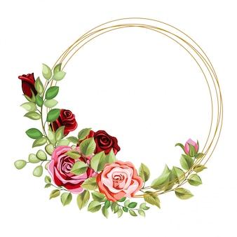 Marco de círculo decorativo con adornos florales y hojas.