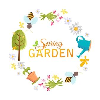 Marco de círculo de diseño de jardín de primavera con imágenes de árbol, maceta, abeja, regadera, casa de pájaros y muchos otros objetos en el blanco