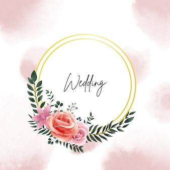 Marco de círculo dorado acuarela con hojas y flores para diseño de invitación de boda