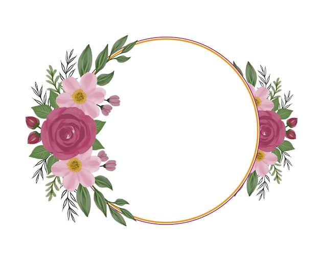 Marco de círculo dorado con borde de ramo de rosas rojas