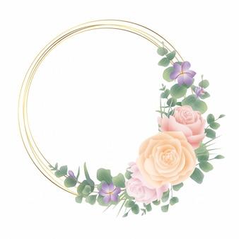 Marco de círculo dorado con decoración de flores y acuarela de estilo de hoja de eucalipto