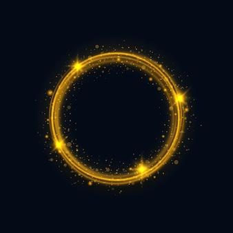 Marco de círculo dorado con efecto de luz brillante