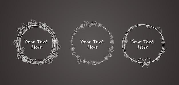 Marco de círculo de flor de doodle