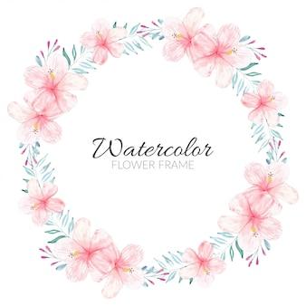 Marco de círculo de flor de hibisco pintado a mano en acuarela