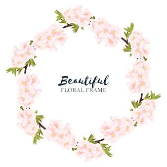 Marco de círculo floral de flor de cerezo