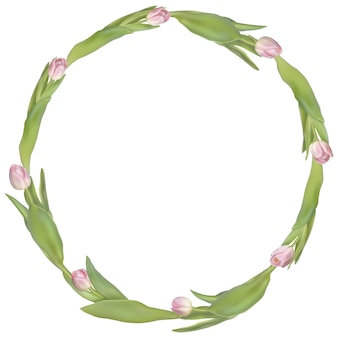 Marco de círculo con flores de tulipanes.