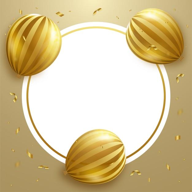 Marco de círculo de globo dorado.