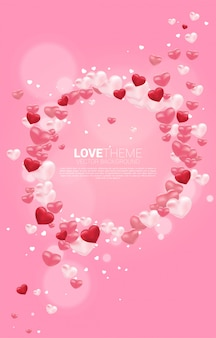 Marco de círculo gráfico de globo 3d de corazón. banner y póster de san valentín y el tema del amor