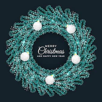 Marco de círculo de guirnalda de navidad y año nuevo hoja verde y fondo oscuro