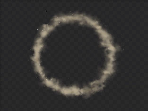 Marco de círculo de humo, nube de smog redonda