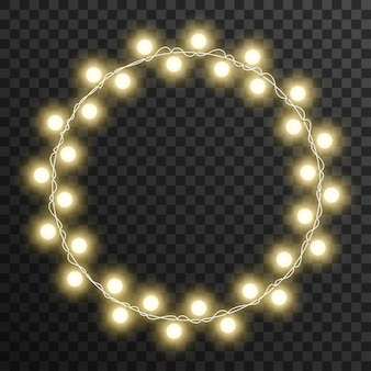 Marco de círculo de luces de navidad aislado sobre fondo transparente
