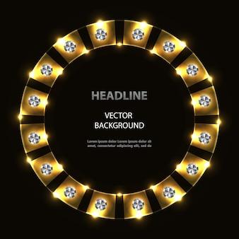 Marco de círculo de neón dorado abstracto con lentejuelas plateadas.