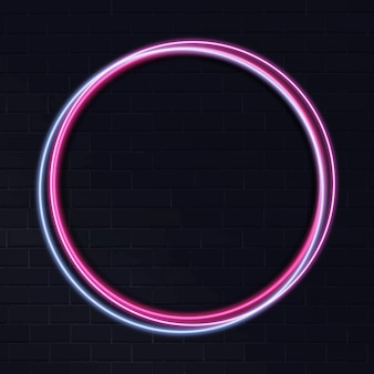 Marco de círculo de neón sobre fondo oscuro