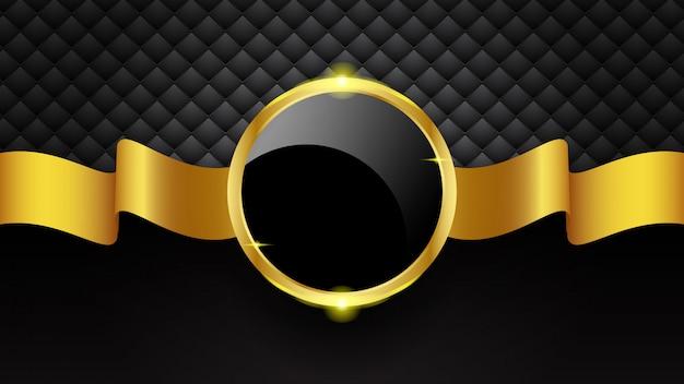 Marco de círculo de oro de lujo y cinta sobre fondo negro