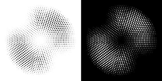 Marco de círculo de semitono conjunto de fondo punteado. ilustración.