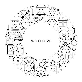 Marco de círculo con símbolos de amor.