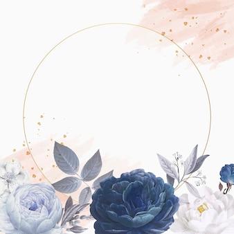Marco de círculo temático floral