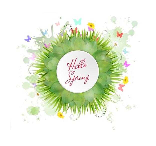 Marco de círculo con texto hola primavera y flores