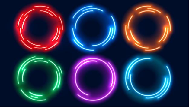 Marco de círculos de neón en seis colores.