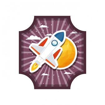 Marco con cohete volador y planeta del sistema solar