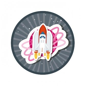 Marco con cohete volando y planetas del sistema solar