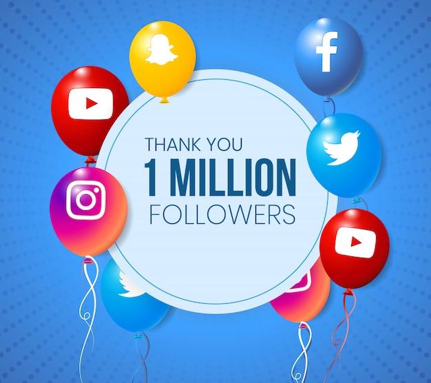Marco de colección de globos 3d de redes sociales para logros importantes