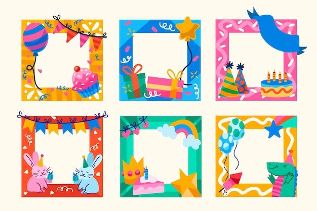 Marco de collage de cumpleaños dibujado a mano