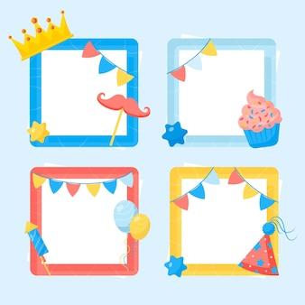 Marco de collage de cumpleaños de diseño plano de corona