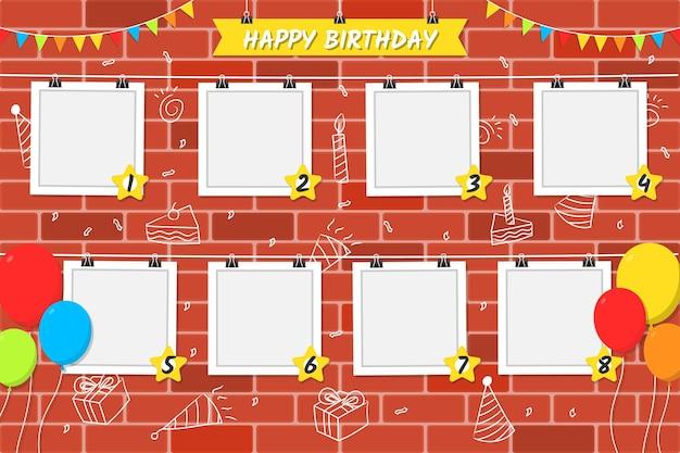 Marco de collage de cumpleaños de diseño plano de fondo de ladrillo