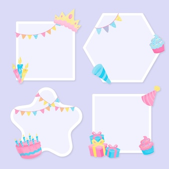 Marco de collage de cumpleaños de diseño plano