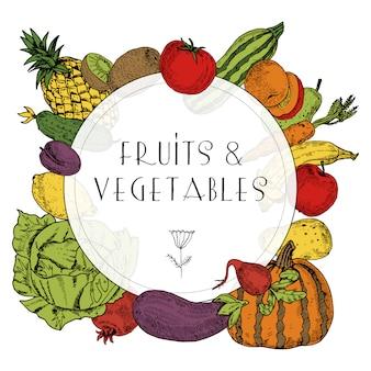 Marco colorido decorativo de saludables frutas y verduras orgánicas