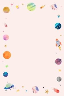 Marco colorido del doodle de la acuarela de la galaxia en fondo pastel