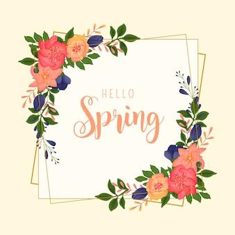 Marco colorido de primavera con diferentes flores