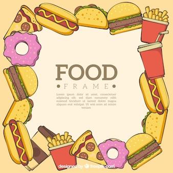 Marco de comida con comida rápida