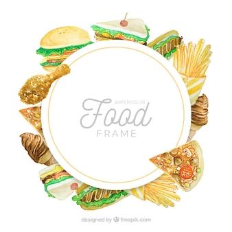 Marco de comida deliciosa en acuarela