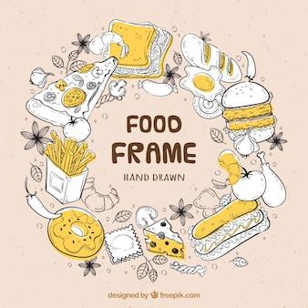 Marco de comida deliciosa dibujado a mano