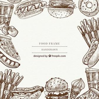 Marco de comida deliciosa con estilo de dibujo a mano