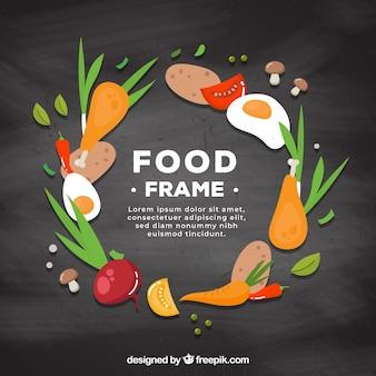 Marco de comida con diseño plano