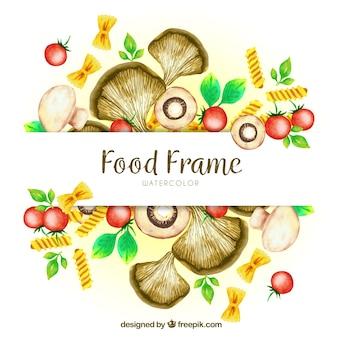 Marco de comida con ingredientes para pasta