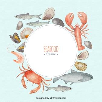 Marco de comida con mariscos